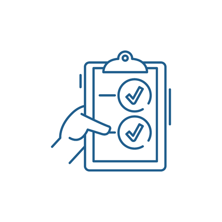 Voting line concept icon. Voting flat  vector website sign, outline symbol, illustration.