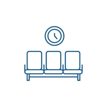 Icône de concept de ligne de salle d'attente. Salle d'attente télévision vector signe site Web, symbole du contour, illustration.