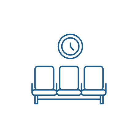 Waiting room line concept icon. Waiting room flat  vector website sign, outline symbol, illustration. Banco de Imagens - 120118133