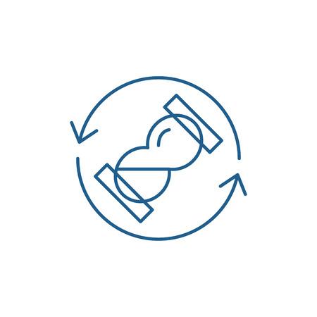 Waiting time line concept icon. Waiting time flat  vector website sign, outline symbol, illustration. Illustration