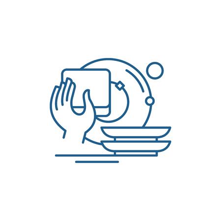 Mycie naczyń ikona koncepcja linii. Mycie naczyń płaski wektor stronie internetowej znak, symbol konspektu, ilustracja.