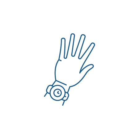 Watch on hand line concept icon. Watch on hand flat  vector website sign, outline symbol, illustration. Çizim