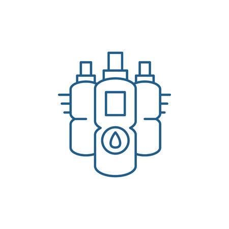 Water bottles line concept icon. Water bottles flat  vector website sign, outline symbol, illustration. 向量圖像