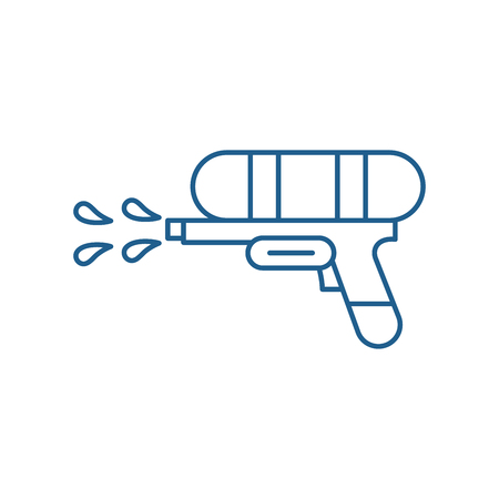 Water gun line concept icon. Water gun flat  vector website sign, outline symbol, illustration.