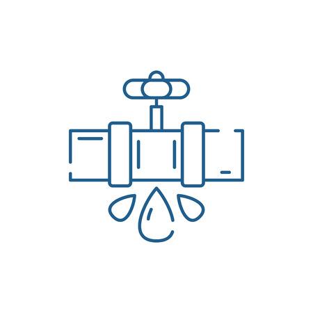 Icono de concepto de línea de tuberías de agua. Tuberías de agua sitio web vector plano signo, símbolo de contorno, Ilustración
