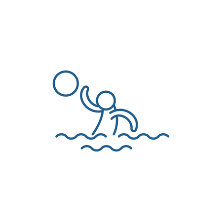 Water volleyball line concept icon. Water volleyball flat  vector website sign, outline symbol, illustration. Stock Illustratie