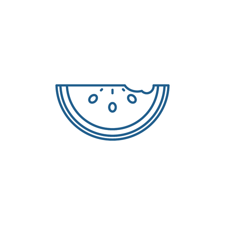Watermelon line concept icon. Watermelon flat  vector website sign, outline symbol, illustration.