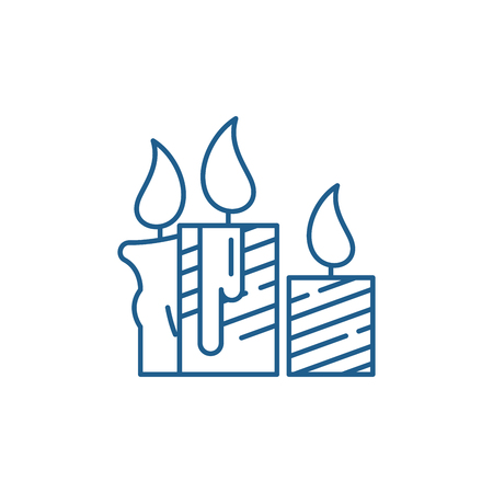 Wax light candles line concept icon. Wax light candles flat  vector website sign, outline symbol, illustration.