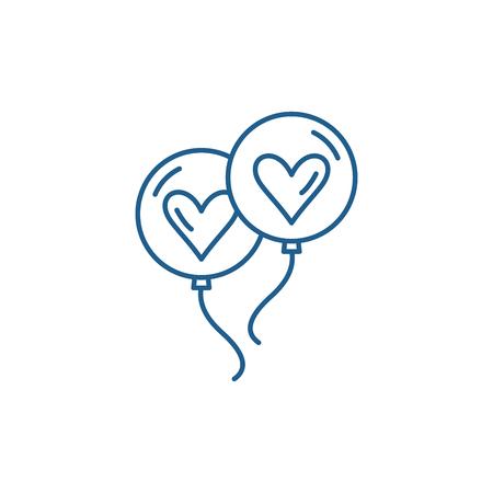 Wedding balls line concept icon. Wedding balls flat  vector website sign, outline symbol, illustration. Illustration