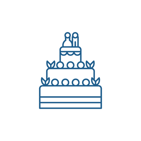 WEDDING CAKE line concept icon. WEDDING CAKE flat  vector website sign, outline symbol, illustration. Vectores