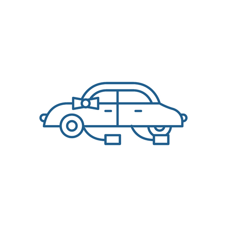 Wedding car line concept icon. Wedding car flat  vector website sign, outline symbol, illustration. Ilustração