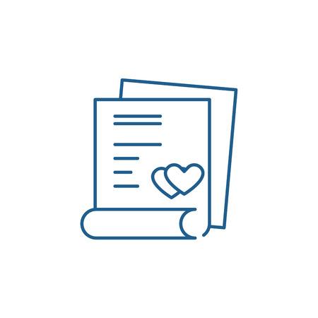 결혼 계약 라인 아이콘 개념입니다. 결혼식 계약 평면 벡터 웹사이트 기호, 개요 기호, 그림.