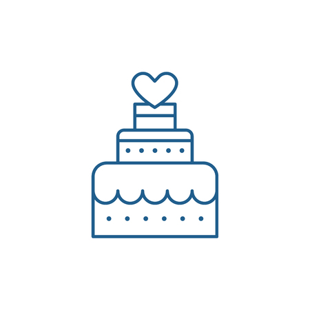 WEDDING dessert line concept icon. WEDDING dessert flat  vector website sign, outline symbol, illustration.
