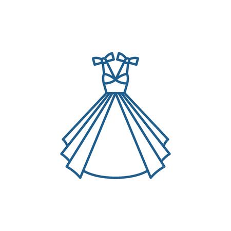 Wedding dress line concept icon. Wedding dress flat  vector website sign, outline symbol, illustration.