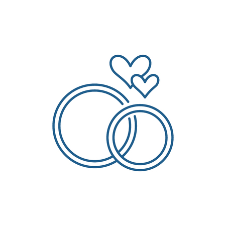 Wedding rings line concept icon. Wedding rings flat  vector website sign, outline symbol, illustration.