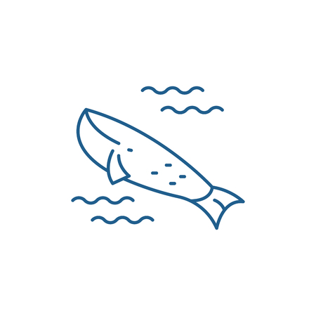 Whale in the ocean line concept icon. Whale in the ocean flat  vector website sign, outline symbol, illustration.