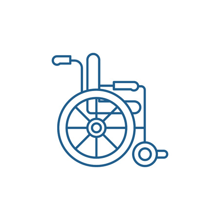 Wheelchair line concept icon. Wheelchair flat  vector website sign, outline symbol, illustration.