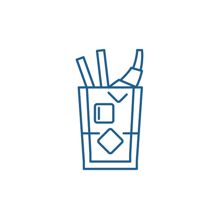 Whiskey line concept icon. Whiskey flat  vector website sign, outline symbol, illustration.