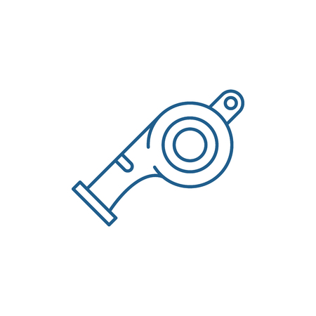 Whistle line concept icon. Whistle flat  vector website sign, outline symbol, illustration. Illustration