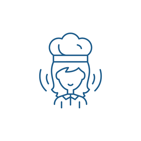 Woman cook line concept icon. Woman cook flat  vector website sign, outline symbol, illustration.