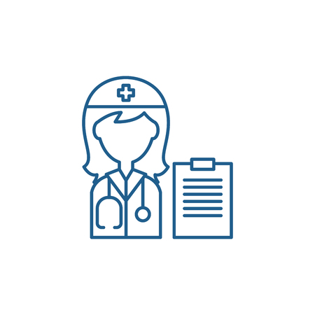 Woman doctor line concept icon. Woman doctor flat  vector website sign, outline symbol, illustration.