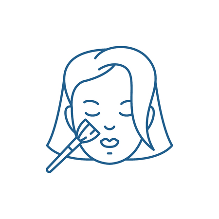 Woman makeup line concept icon. Woman makeup flat  vector website sign, outline symbol, illustration.