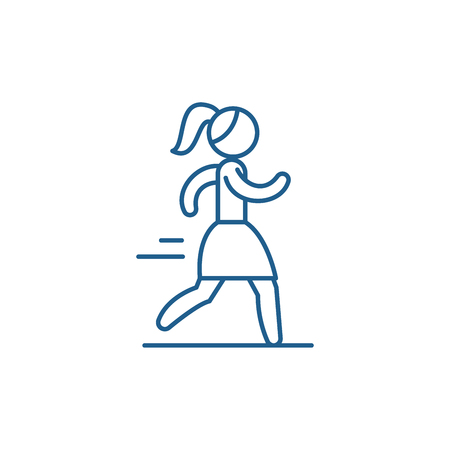 Woman running line concept icon. Woman running flat  vector website sign, outline symbol, illustration.  イラスト・ベクター素材