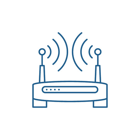 Wireless internet line concept icon. Wireless internet flat  vector website sign, outline symbol, illustration.