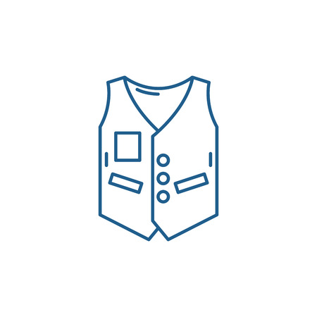 Work vest line concept icon. Work vest flat  vector website sign, outline symbol, illustration. Banque d'images - 120118005