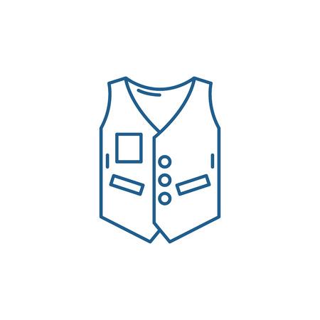 Work vest line concept icon. Work vest flat  vector website sign, outline symbol, illustration. Stock Vector - 120118005