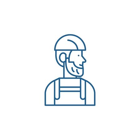 Worker line concept icon. Worker flat  vector website sign, outline symbol, illustration. 向量圖像