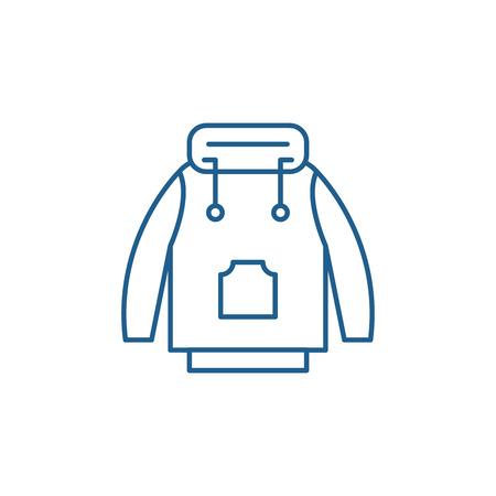 Winter jacket line concept icon. Winter jacket flat  vector website sign, outline symbol, illustration.