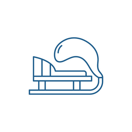 Winter sled line concept icon. Winter sled flat  vector website sign, outline symbol, illustration. 向量圖像
