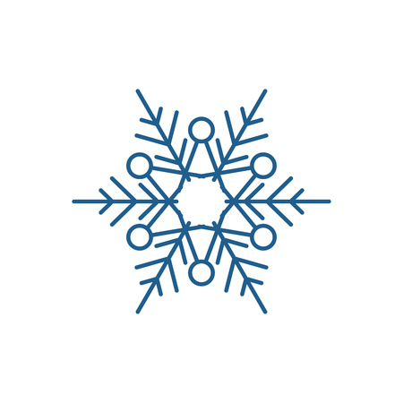 Winter snowflake line concept icon. Winter snowflake flat  vector website sign, outline symbol, illustration.