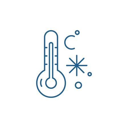 Winter temperature line concept icon. Winter temperature flat  vector website sign, outline symbol, illustration.