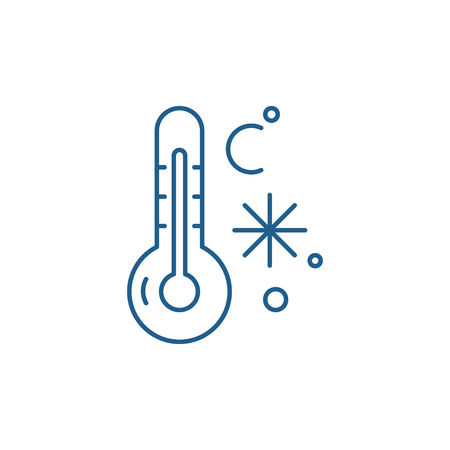 Winter temperature line concept icon. Winter temperature flat  vector website sign, outline symbol, illustration.