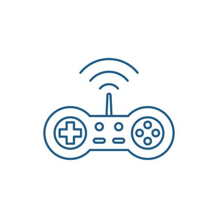 Wireless joystick line concept icon. Wireless joystick flat vector website sign, outline symbol, illustration.