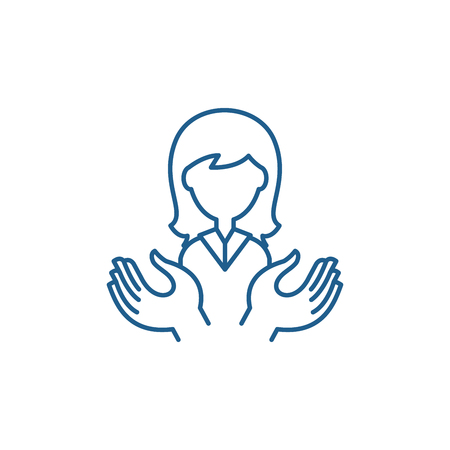 Womens support line concept icon. Womens support flat  vector website sign, outline symbol, illustration. 스톡 콘텐츠 - 120118021