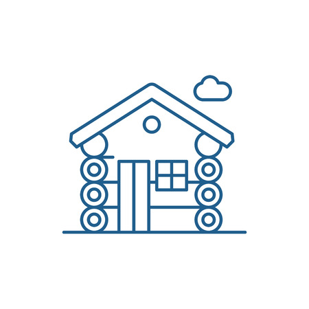 Wooden house line concept icon. Wooden house flat  vector website sign, outline symbol, illustration.