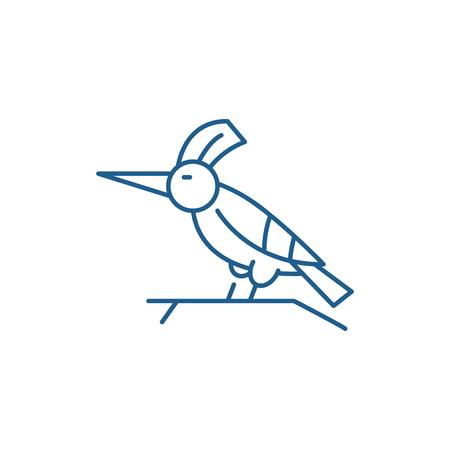 Woodpecker line concept icon. Woodpecker flat  vector website sign, outline symbol, illustration. Illustration