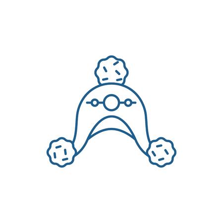 Woolen hat line concept icon. Woolen hat flat  vector website sign, outline symbol, illustration.
