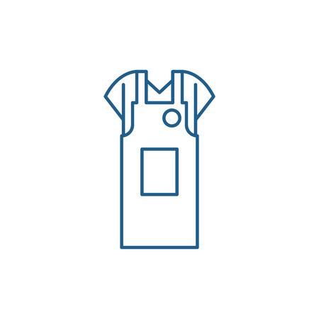 Work apron line concept icon. Work apron flat  vector website sign, outline symbol, illustration.