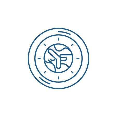 Working time line concept icon. Working time flat  vector website sign, outline symbol, illustration.