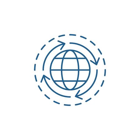 World economy line concept icon. World economy flat  vector website sign, outline symbol, illustration. Foto de archivo - 120118078