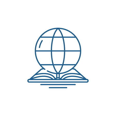 World law line concept icon. World law flat  vector website sign, outline symbol, illustration.