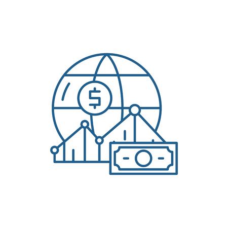 World markets line concept icon. World markets flat  vector website sign, outline symbol, illustration.