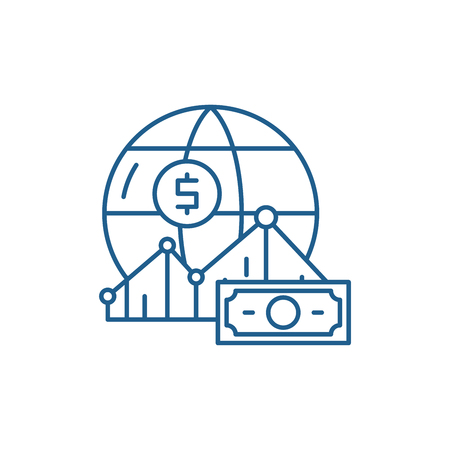 World markets line concept icon. World markets flat  vector website sign, outline symbol, illustration.
