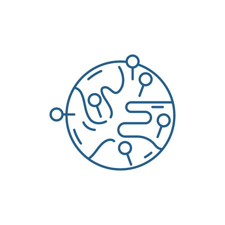 Worldwide sales market line concept icon. Worldwide sales market flat  vector website sign, outline symbol, illustration. 向量圖像