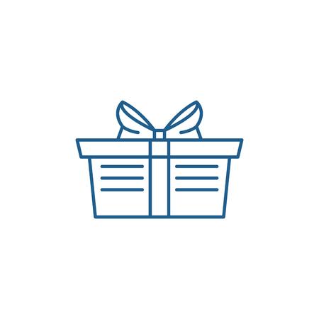 Wrapped gift basket line concept icon. Wrapped gift basket flat  vector website sign, outline symbol, illustration. Illustration
