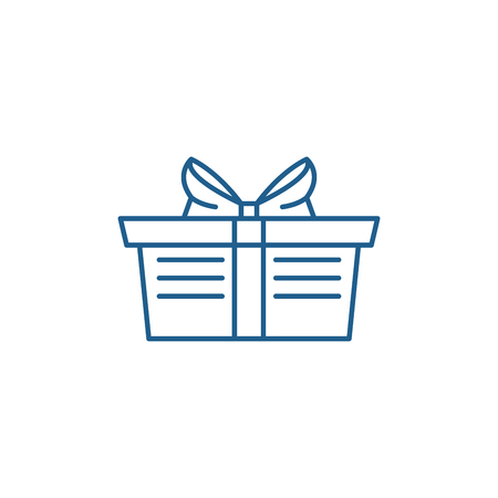 Wrapped gift basket line concept icon. Wrapped gift basket flat  vector website sign, outline symbol, illustration. Çizim